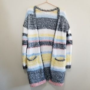 Chunky striped colorfull fuzzy cardigan sweater